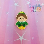 Kawaii Green Elf Christmas Feltie ITH Embroidery Design 4x4 hoop (and larger)